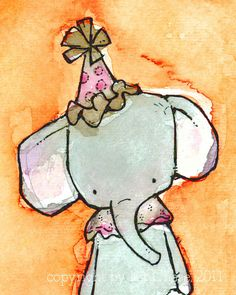 Nursery Art  Esmerelda the Toy Elephant in by trafalgarssquare, $20.00