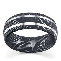 Lashbrook Damascus Steel And Sterling Silver 8mm Wedding Band