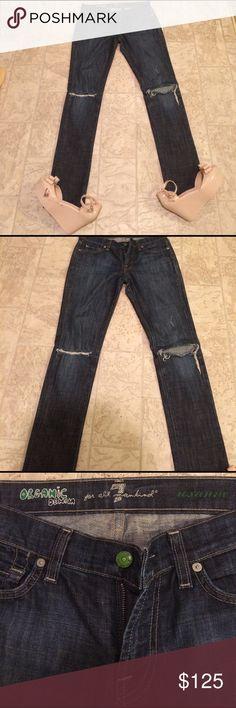 Seven of all mankind organic Roxanne jeans size 27 This is a pair of seven of all mankind organic Roxanne jeans size 27 , distressed in the knees straight leg 98% organic cotton 2% elastase dimensions are, waist 34 hips 34 inseam 33 length 41. seven of all mankind Jeans Straight Leg