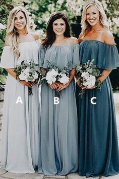 Beauty Off the Shoulder Chiffon Custom Long Bridesmaid Dresses B356  #Partydresses #everningdresses #Ombreprom #promgowns #weddingdresses #Promdresses #Formaldresses