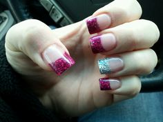 Pink and silver glitter tips