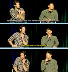 Apparently Jensen and Jared have synchronized periods... Lol #supernatural