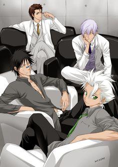 aizen sousuke, hisagi shuuhei, hitsugaya toushirou, and ichimaru gin (bleach) drawn by kedo mitsuharu - Danbooru Manga Anime, Boys Anime, Hot Anime Guys, Manga Boy, I Love Anime, Awesome Anime, Anime Art, Hot Guys, Ukitake Bleach