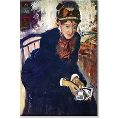 Miss Cassatt sits in a chair in this framed art piece by Edgar Degas. This beautiful canvas art exhibits the Impressionist style of painting. Artist: Edgar Degas Title: Portrait of Miss Cassatt Produc