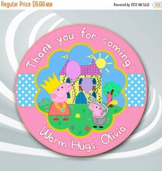 ON SALE 30% Peppa Pig Tags - Peppa Pig Thank You Sticker -Peppa Pig Birthday Party Favor - Peppa Pig Printable - Peppa Pig Thank You by ticketparty on Etsy https://www.etsy.com/listing/204690908/on-sale-30-peppa-pig-tags-peppa-pig