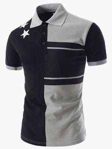 Camisa de Polo de manga corta de algodón guapo para hombres Basic Shorts 678419f4861ea