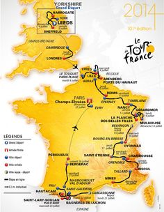 infographie : carte tour de France 2014