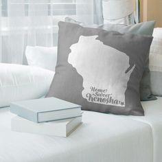 "East Urban Home Pillow Color: Gray, Size: 14"" x 14"", City: Kenosha"