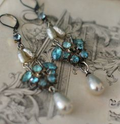 By The Sea  vintage assemblage earrings aqua by crownedbygrace, $58.00