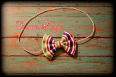multicolor hair bow headband fabric bow hair bow by CeannaPaige Fabric Bow Headband, Fabric Bows, Hair Bows, Unique Jewelry, Handmade Gifts, Vintage, Etsy, Ribbon Hair Ties, Kid Craft Gifts