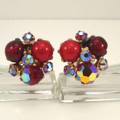 Vintage 1950s Red Bead and AB Rhinestone Earrings by VintageCreekside, $6.00