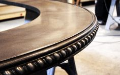 Decorative pewter bar top in our artisan shop.