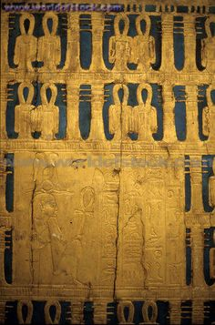 Lots of Djed Pillars and Ankhs and gold to help him get to the afterlife... <3  Egypt Cairo King Tutankhamen Detail Of The Golden Tomb At The Egyptian Museum