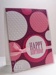 Here is a birthday card using the inlaid embossing technique. I cut the circles out using the #2 circles die in white, regal rose and melon ...
