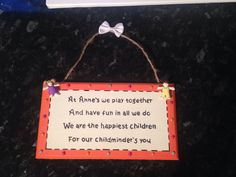 Childminder gift plaque