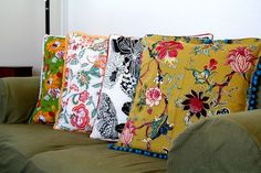 Cushions made from napkins & edging. Backs are plain and different colors.
