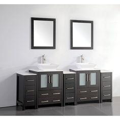 "Brayden Studio Melbourne 84"" Double Bathroom Vanity Set with Mirror Base Finish: Espresso"