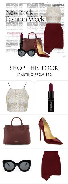 """Pack for NYFW!"" by bfmnt ❤ liked on Polyvore featuring Topshop, Smashbox, Burberry, Christian Louboutin, CÉLINE, women's clothing, women, female, woman and misses"