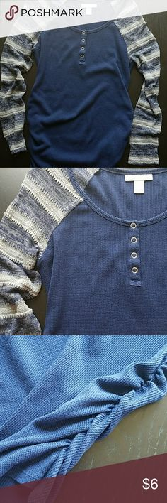 Motherhood Navy Button Detail Shirt Riches sides and Knitt pattern sleeves.  Item may be included in a mystery maternity bundle if interested.  Just an fyi, due to Poshmark fees I don't normally ship individual items under $8 and encourage bundling.  Thanks for understanding! Motherhood Maternity Tops Tees - Long Sleeve