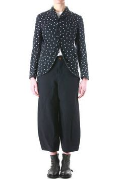 fitted jacket in treated cotton canvas with irregular polka dot print - COMME des GARÇONS - COMME des GARÇONS