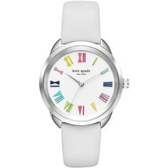 kate spade new york Women's Crosstown White Leather Strap Watch 34mm KSW1092 featuring polyvore, women's fashion, jewelry, watches, white, kate spade jewelry, white wrist watch, kate spade watches, colorful jewelry and multi color jewelry