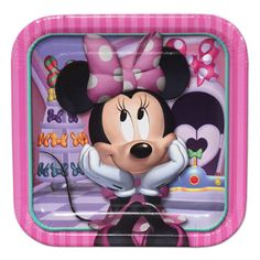 Minnie Mouse Dessert Plates (8) & Disney Minnie Mouse Portrait Balloon Bouquet | Happy birthday disney ...
