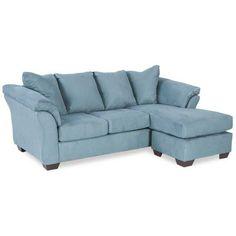 Blue Reversible Sofa Chaise