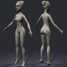 3d cartoon character young woman model