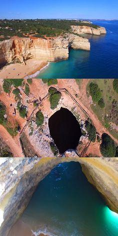 Algar De Benagil – Secret Cave With Beach Inside (VIDEO) #Nature #Places #Travel #Amazing