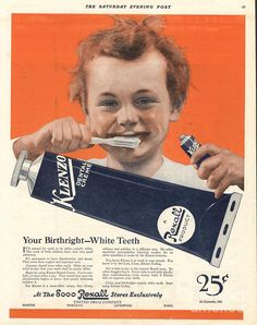 1920s Drawing -  1920s Usa Klenzo Toothpaste by The Advertising Archives  Publicidad antigua pasta de dientes