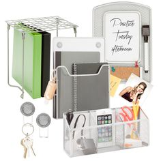 Honey-Can-Do BTSX06761 6-Piece Locker Organization Kit, Silver. Keeping your locker organized is easy with this six-piece steel mesh organization kit. This set includes a magnetic pocket, magnetic thr