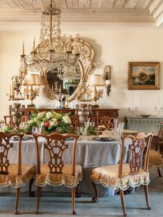 ** The dining room table is set up for the holidays.