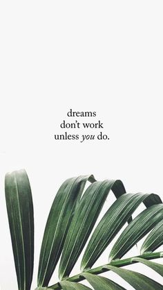 dreams don't work unless you do | monthly motto