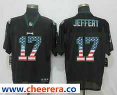 7fafa707331 Men's Philadelphia Eagles #17 Alshon Jeffery Black USA Flag Fashion  Stitched NFL Nike Elite Jersey