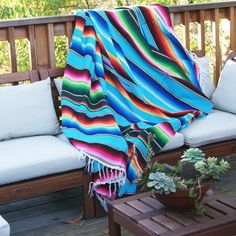bright colored mexican blanket this vibrant blanket is a must for every household throw it - Coloring Book Yarns