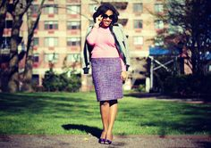 Closet Confection: Pink Cabled Sweater + Purple Tweed Pencil Skirt