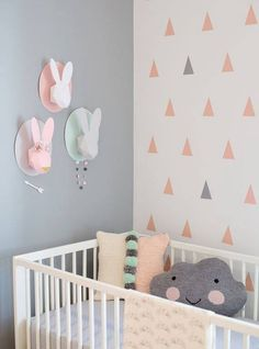 Specialising in beautiful baby Nursery and Children's room designs. Bringing you the best in Nursery and Kid's room decor - a place for your child to learn, play, dream and grow. Pastel Nursery, Mint Nursery, Bunny Nursery, Nursery Room, Nursery Decor, Nursery Ideas, Chic Nursery, Nursery Colours, Nursery Furniture