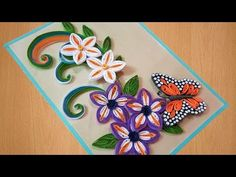 ✅Quilling card | how to make Beautiful flowers with Butterfly ⏭birtday Gift Greeting Card - YouTube