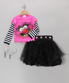 Take a look at this Pink & Black Animal Dress-Up Set - Girls by The Muppets on #zulily today!