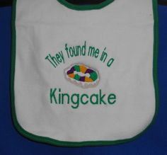 Mardi Gras Baby White Bib Green Trim Shower Gift by girlslovebows, $7.99