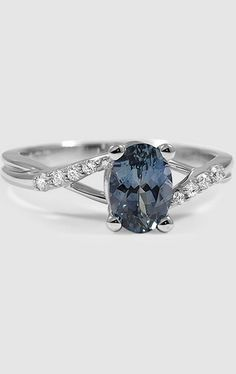 This Sapphire Chamise Ring in white gold is set with a rich teal oval sapphire.