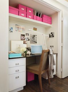 Before and after home office makeover. Learn how to effectively use a spare surface, a sleek cabinet, empty wall space and storage space to make the most of your home office. For more home office makeover ideas go to Domino. Office Nook, Home Office Space, Home Office Decor, Home Decor, Small Office, Office Ideas, Desk Ideas, Mini Office, Desk Office