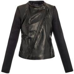 Francis Leon Sofie leather scuba sleeve biker jacket ($682) ❤ liked on Polyvore