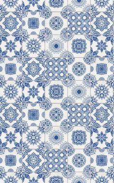 """Tapete """"Portugiesisch gefliest – Weiß und Blau"""