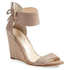 breeley wedge sandal by Jessica Simpson. A decorative tie embellishes the wide ankle strap of a svelte sandal set on a slim, wrapped wedge.
