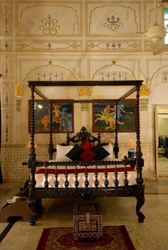 Inside the Laxmi Niwas Palace, a luxury hotel in Bikaner, Rajasthan. Bedroom Designs India, Modern Bedroom Design, Contemporary Bedroom, Bed Design, Bedroom Colors, Bedroom Sets, Master Bedroom, Home Decor Furniture, Bedroom Furniture