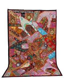 Antique Banjara Patchwork Tapestry-Indian Gujarati home decor wall curtain- Bohemian Handmade Embroidered Gypsy Vintage Wall Hanging