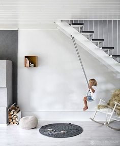 Indoor swing if remodel exposes supporting roof structures to attach it to. Kids Interior, Interior Design, Scandinavian Interior Kids, Scandinavian Lighting, Scandinavian Architecture, Room Interior, Architecture Design, Indoor Swing, Under Stairs