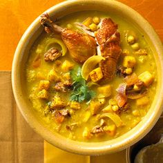 Chicken Butternut Squash Soup Warm your family with this delicious chicken soup recipe paired with butternut squash.
