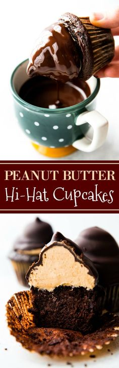 to make PEANUT BUTTER chocolate hi-hat cupcakes! Step-by-step photos and delicious recipe on sallysbakingaddic.How to make PEANUT BUTTER chocolate hi-hat cupcakes! Step-by-step photos and delicious recipe on sallysbakingaddic. Cupcake Recipes, Baking Recipes, Cupcake Cakes, Dessert Recipes, Just Desserts, Delicious Desserts, Yummy Food, Delicious Cupcakes, Yummy Treats